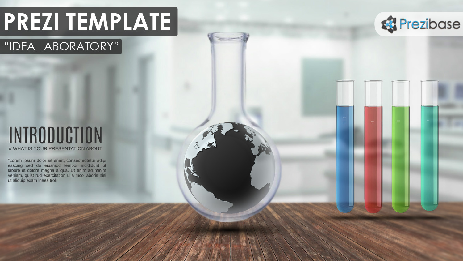 Idea Laboratory world 3d glass test tube prezi template