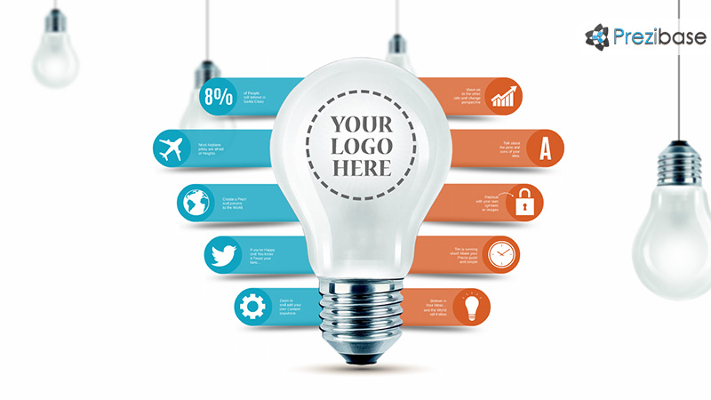 3D idea light bulb diagram infographic prezi template for presentations