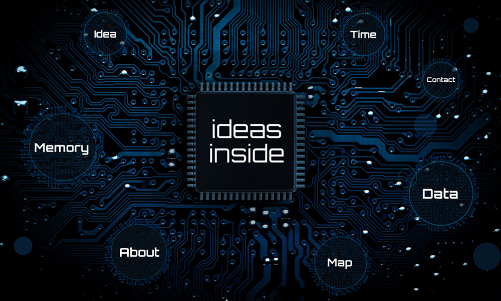 Idea processor with computer chip on motherboard technology themed presentation template for Prezi