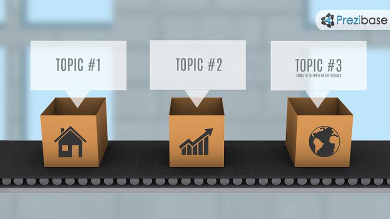 Idea production factory conveyor line in a box prezi template for presentations