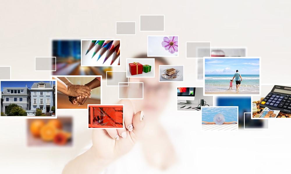 3D futuristic touchscreen image gallery prezi presentation template