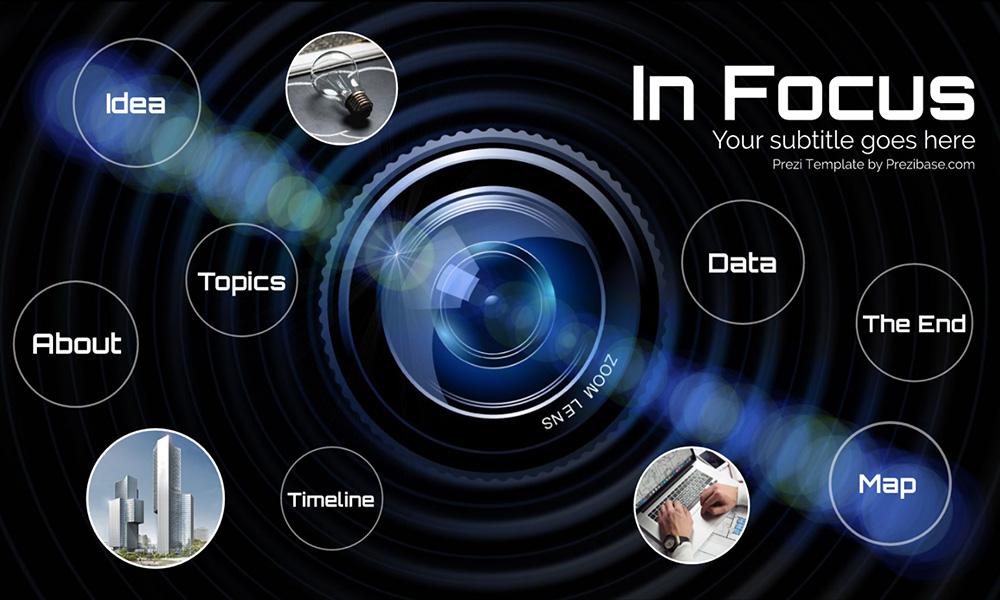 Photo camera lens press and media investigation prezi next presentation template