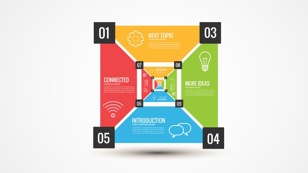 colorful infographic square box prezi presentation template