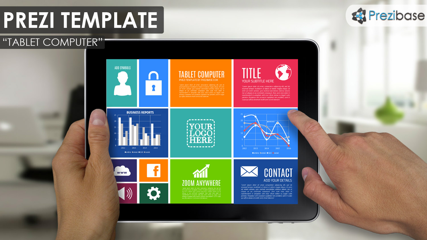 Colorful ipad tablet screen technology prezi template