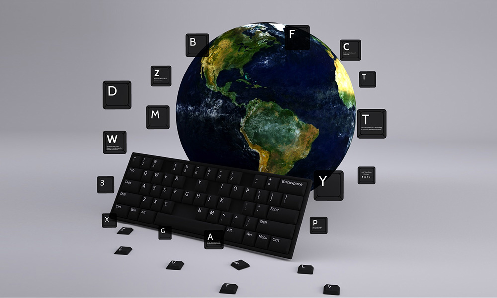 presentation prezi online keyboard and world 3D template