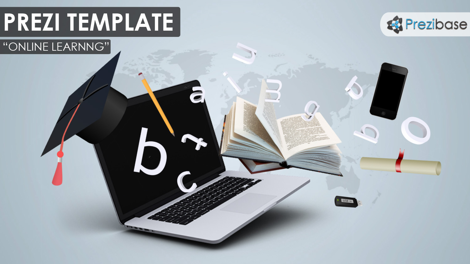 3D online learning laptop degree letters book prezi template school