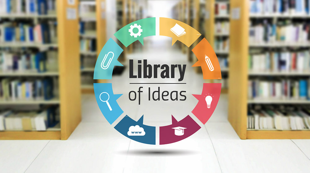 Books and ideas in library Creative 3D circle Prezi presentation template