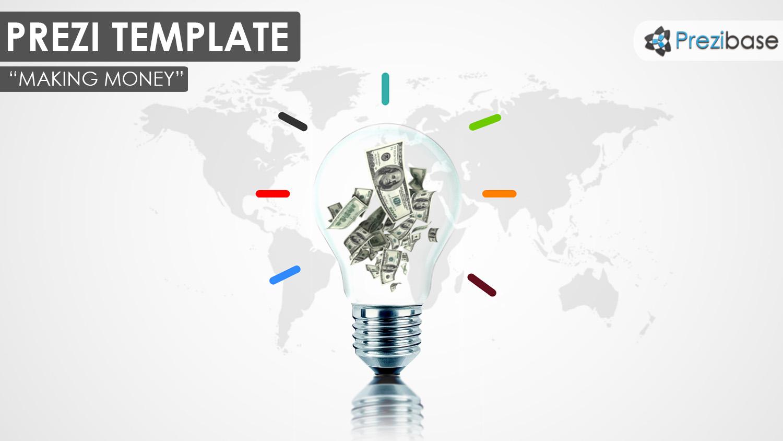 prezi 3d light bulb inside money dollars ideas business prezi template