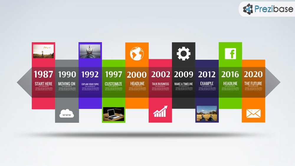 Creative colorful timeline prezi template layout