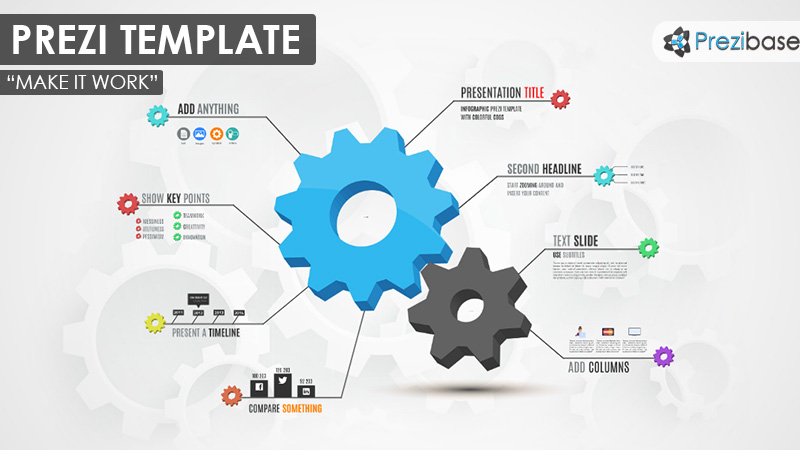 3D gears cogs world business diagram infographic prezi template