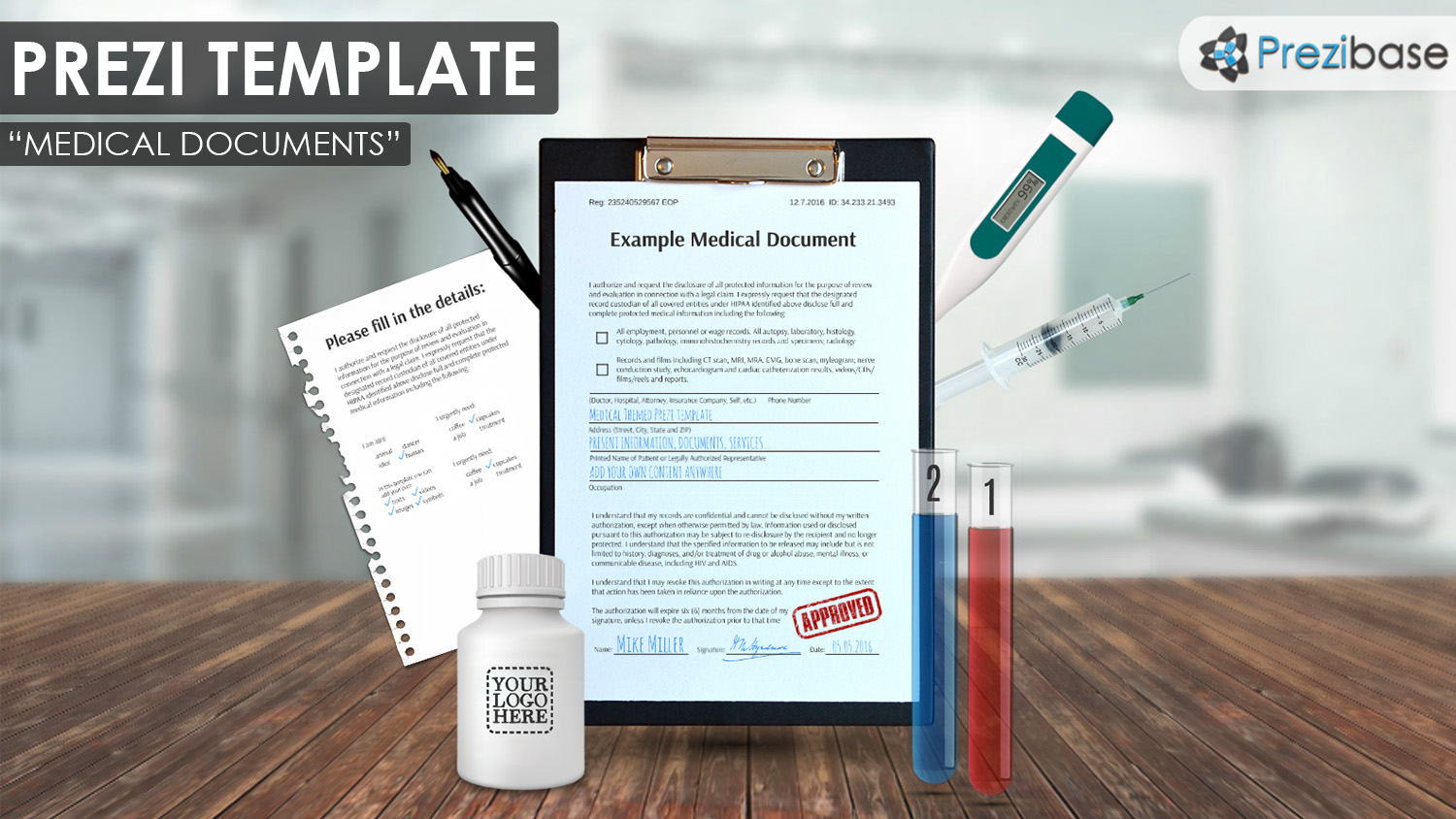 Medical documents drugs research prezi template