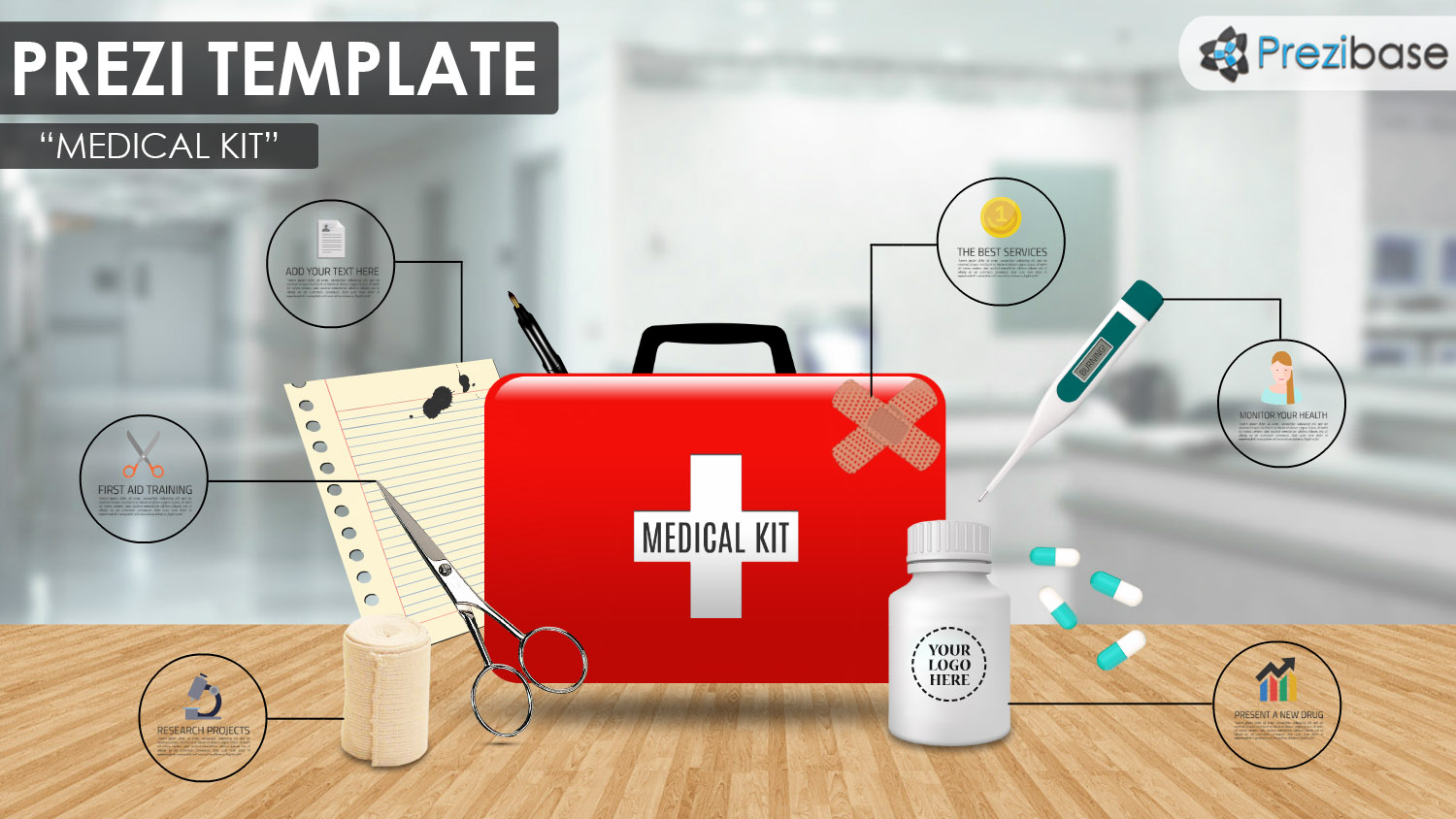 medical kit and first aid red cross prezi template