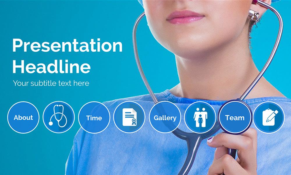 Medical test checkup nurse healthcare presentation template for Prezi