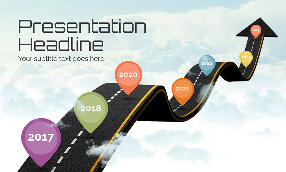 Road in sky creative milestones and timeline presentation template for prezi