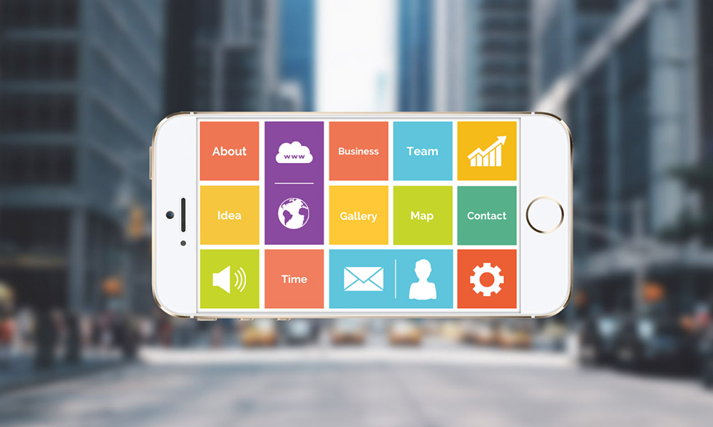 Mobile app screen colorful display prezi next presentation template
