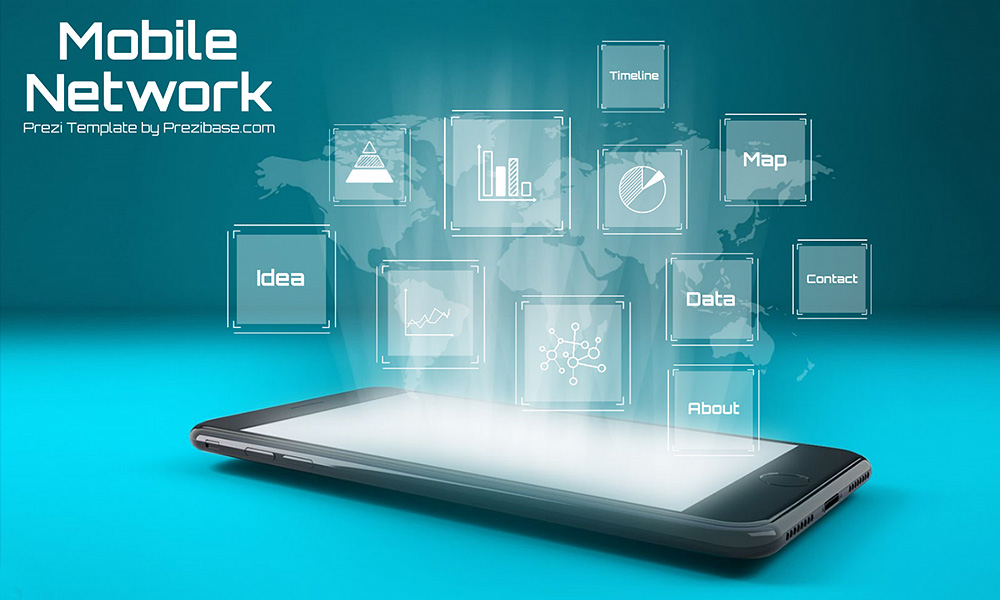 mobile network prezi template | prezibase, Presentation templates