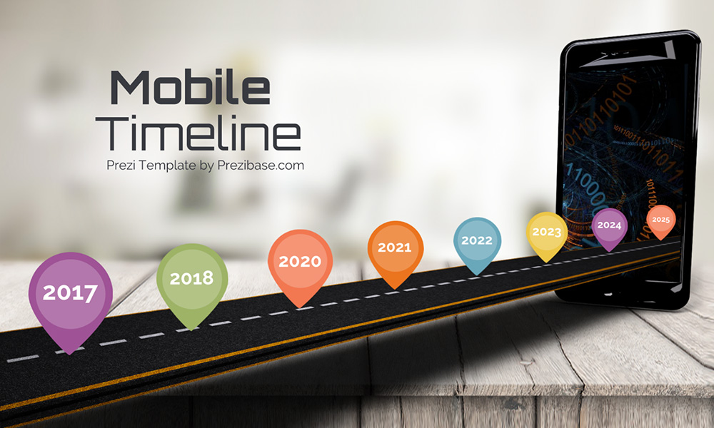 Mobile timeline 3D iPhone road into screen creative roadmap prezi next presentation template