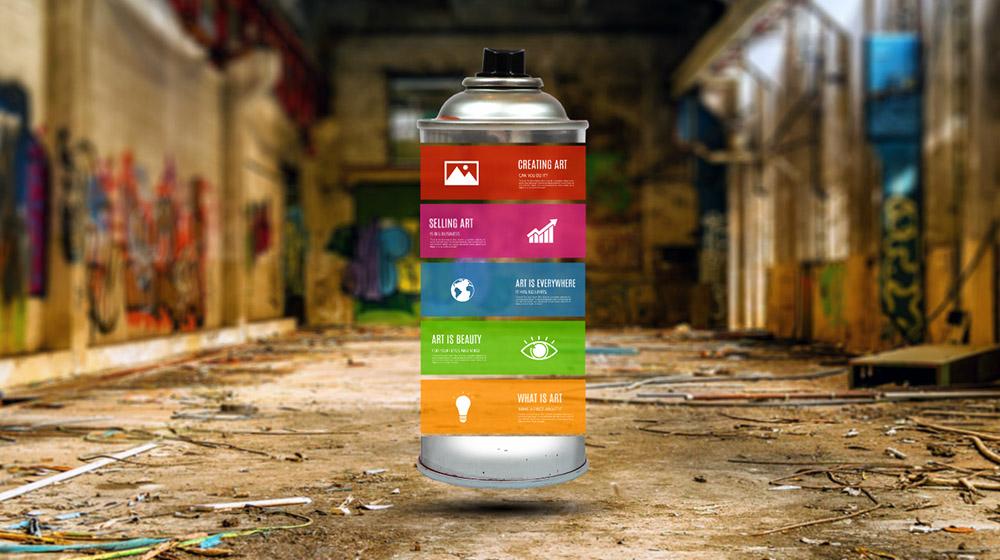 Graffiti creative 3D abstract art related Prezi presentation template
