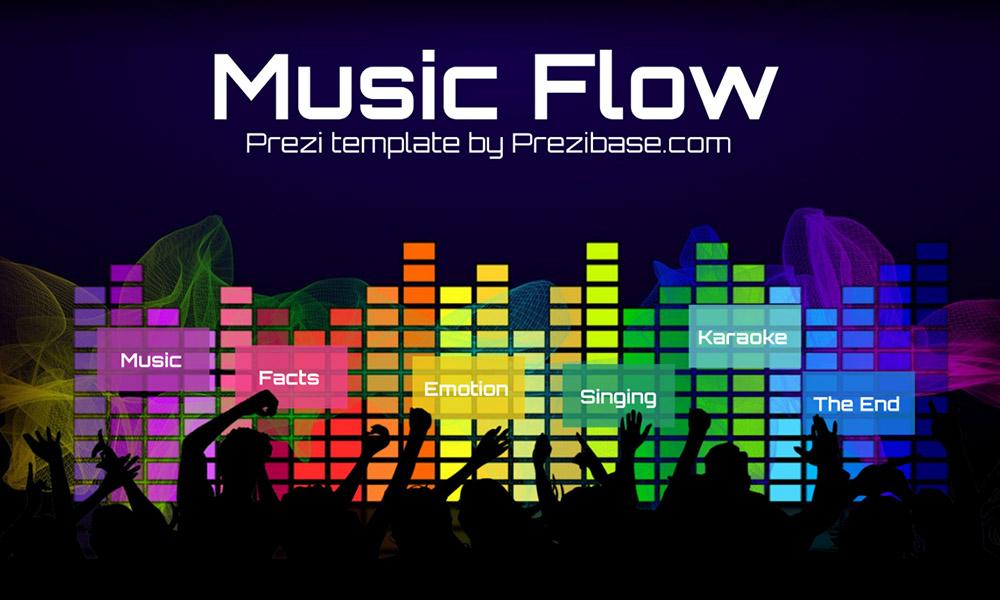 Music flow people dancing audio bars prezi next presentation template