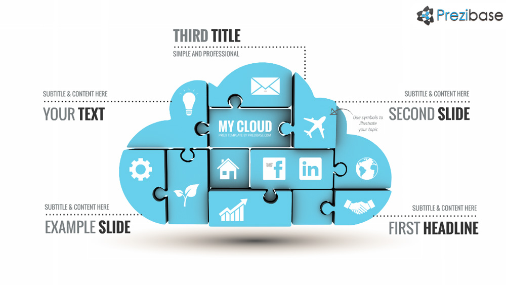 Jigsaw puzzle technology cloud prezi template for presentations