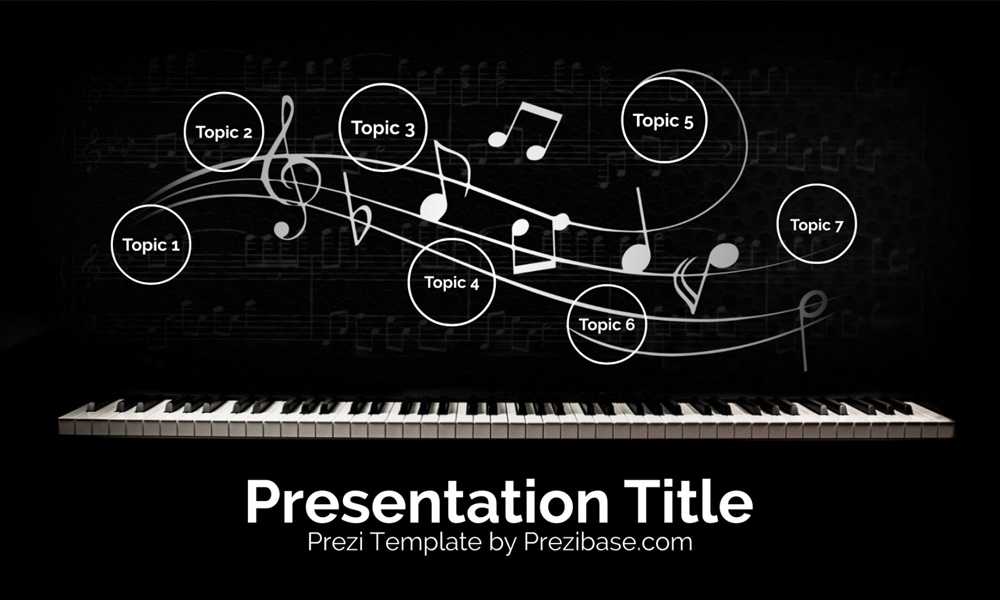 Music piano keys Prezi Next presentation template for classical music