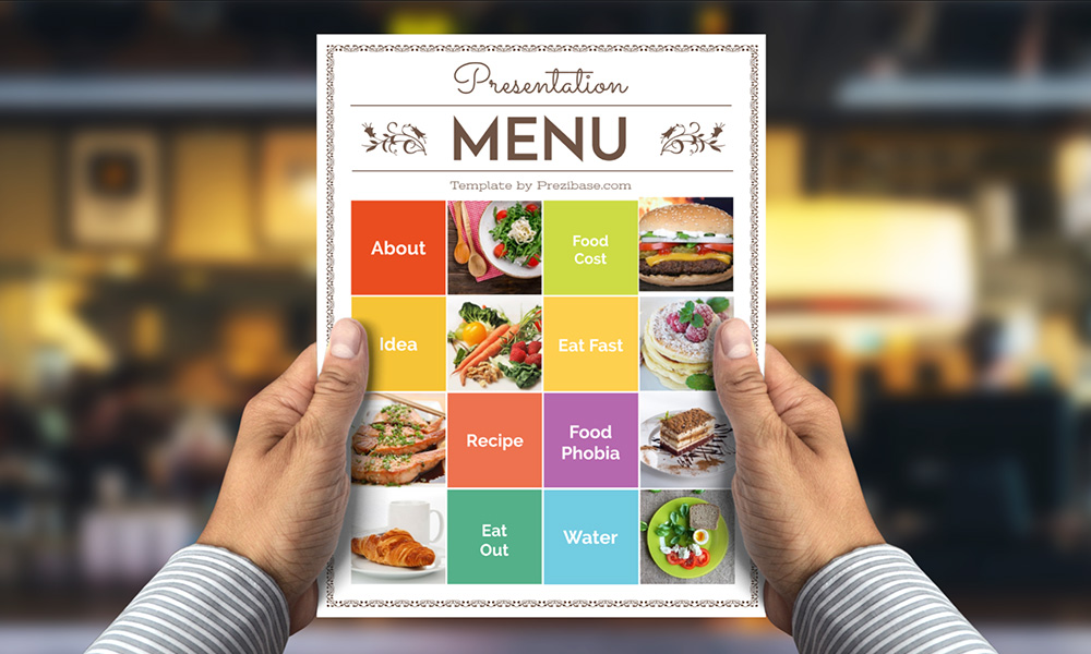 Food menu in hand restaurant or cafe prezi presentation template