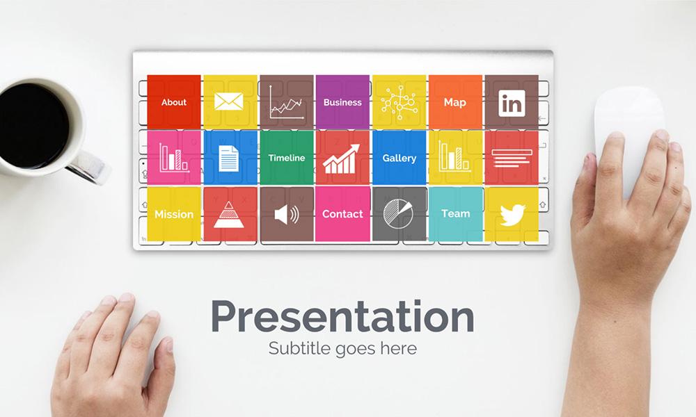 Online internet web research presentation template keyboard