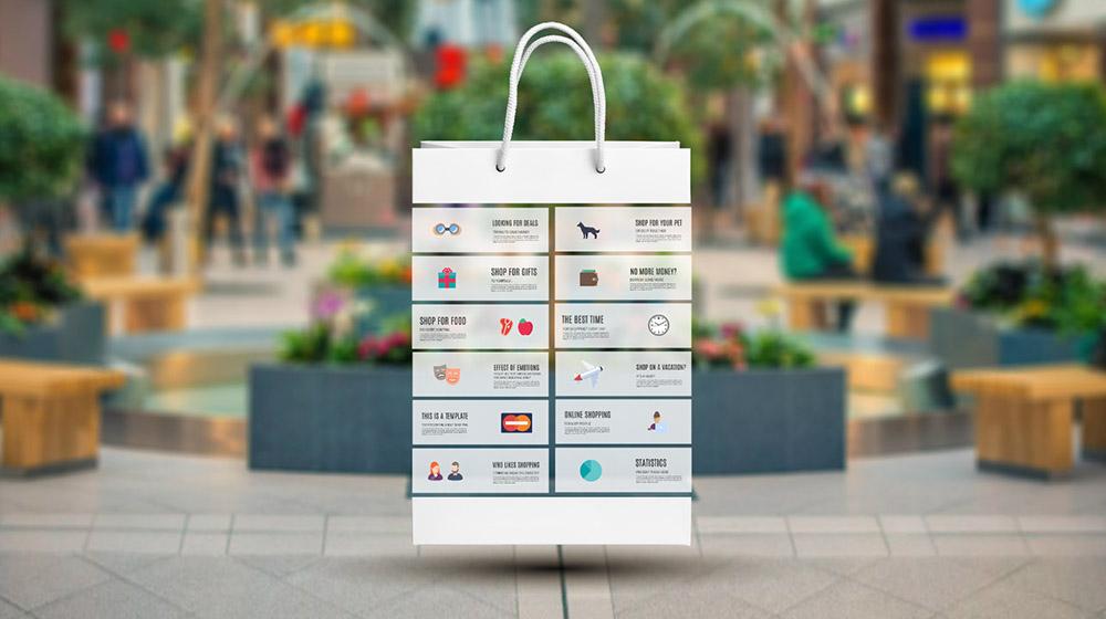3D shopping bag creative shopping infographic prezi presentation template