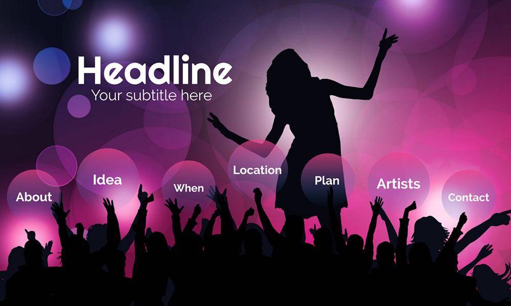 Dance and Party disco club prezi next presentation template