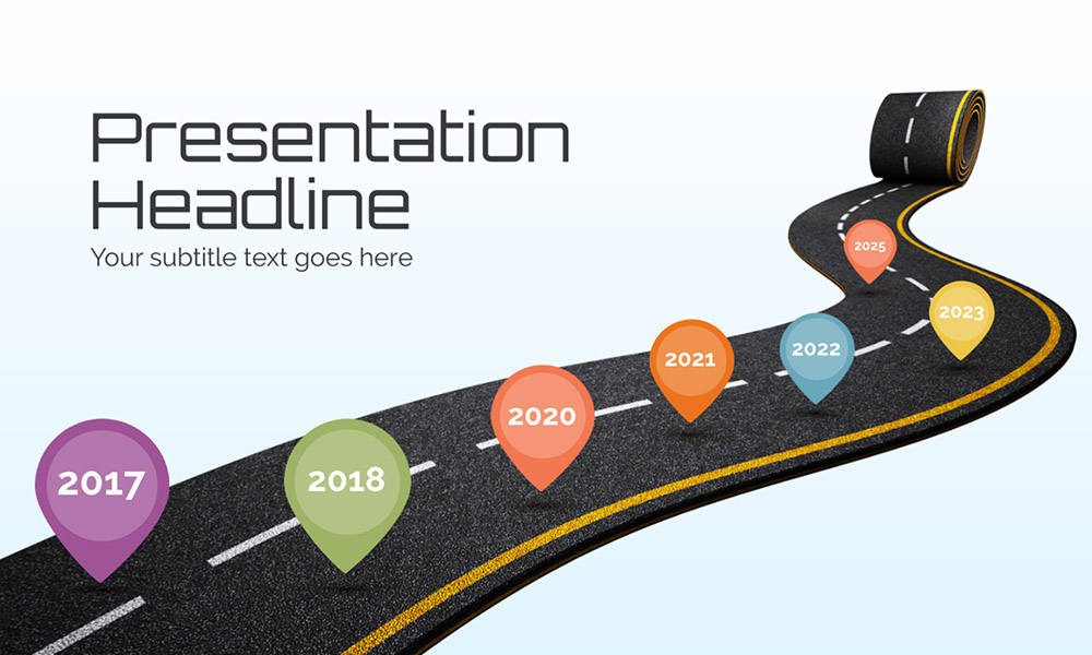 Roll out new road creative roadmap timeline presentation template for Prezi
