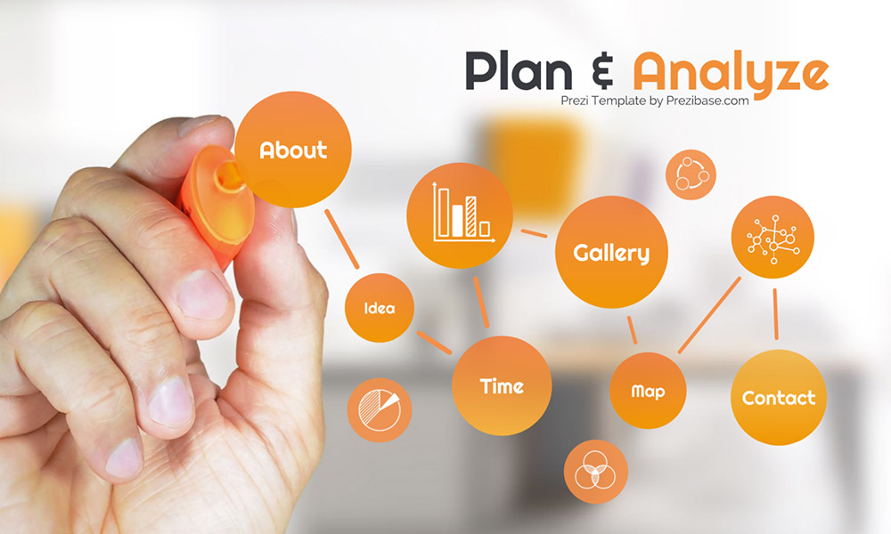 Plan and analyze business management mind map draw marker to screen prezi next presentation template