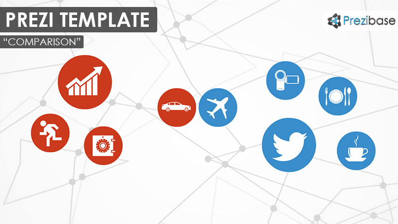 comparison comparative versus blue red prezi template infographic