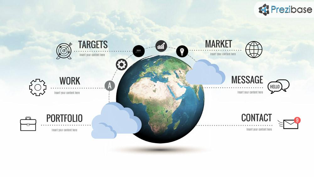 world globe earth business infographic professional presentation prezi template