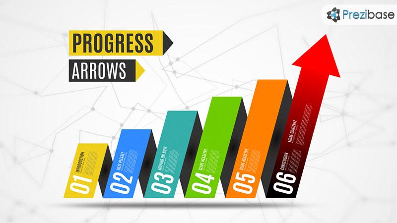 3D business arrow chart diagram prezi templates for presentations