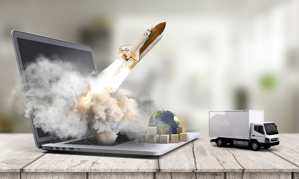 Project launch 3D rocket on laptop technology startup prezi next presentation template