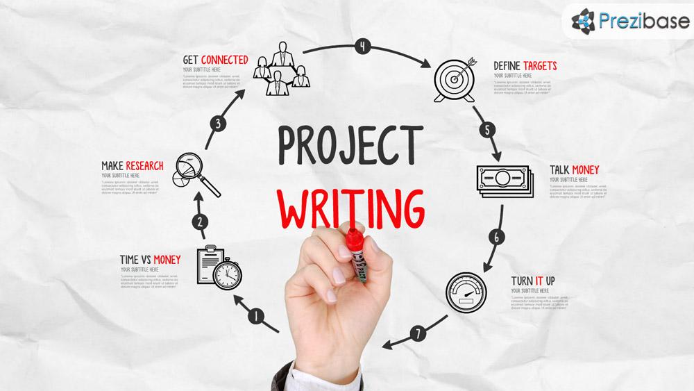 Sketch drawing a circle of project design prezi presentation template