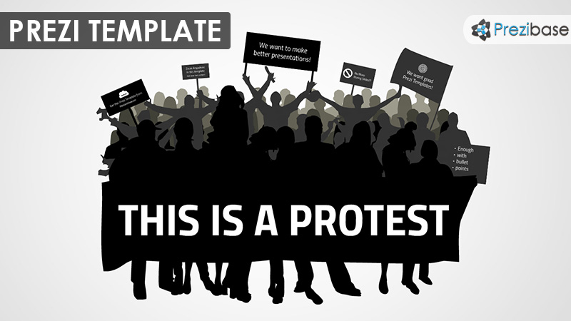protest demonstration political rally prezi template signs