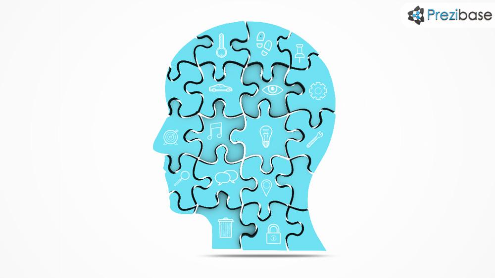 3D head puzzle image thinking head concept prezi template
