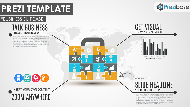 Business puzzle jigsaw diagram prezi template