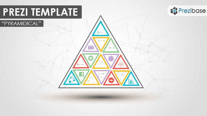 pyramid triangles colorful diagram mindmap prezi template