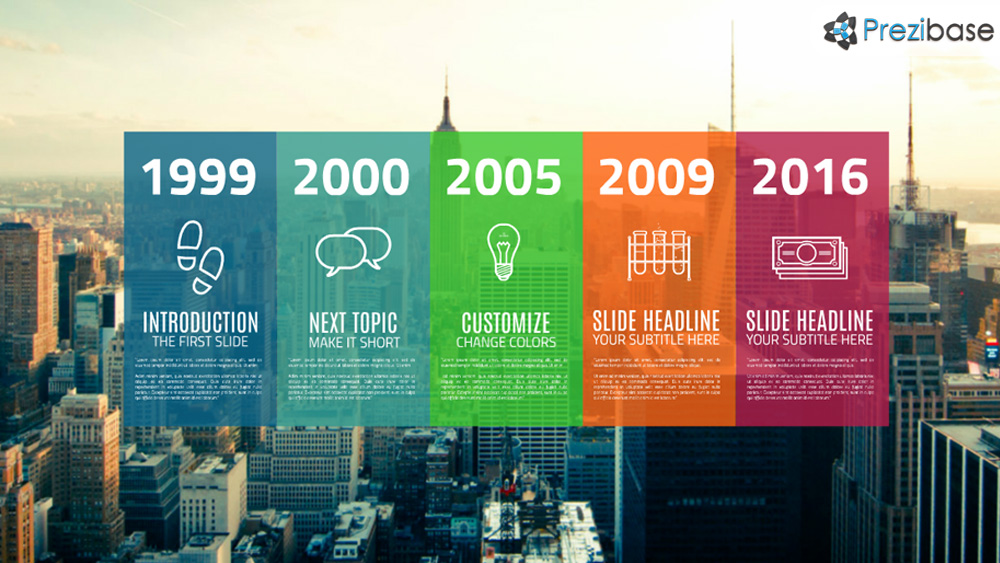 colorful city background professional timeline prezi presentation template