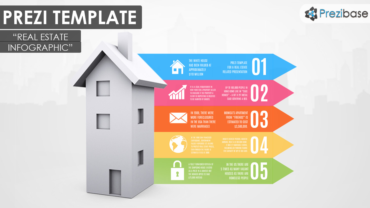 3D real estate and house infographic property prezi template