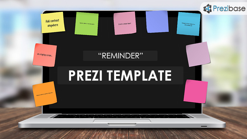 reminder prezi template laptop in office desk post it notes