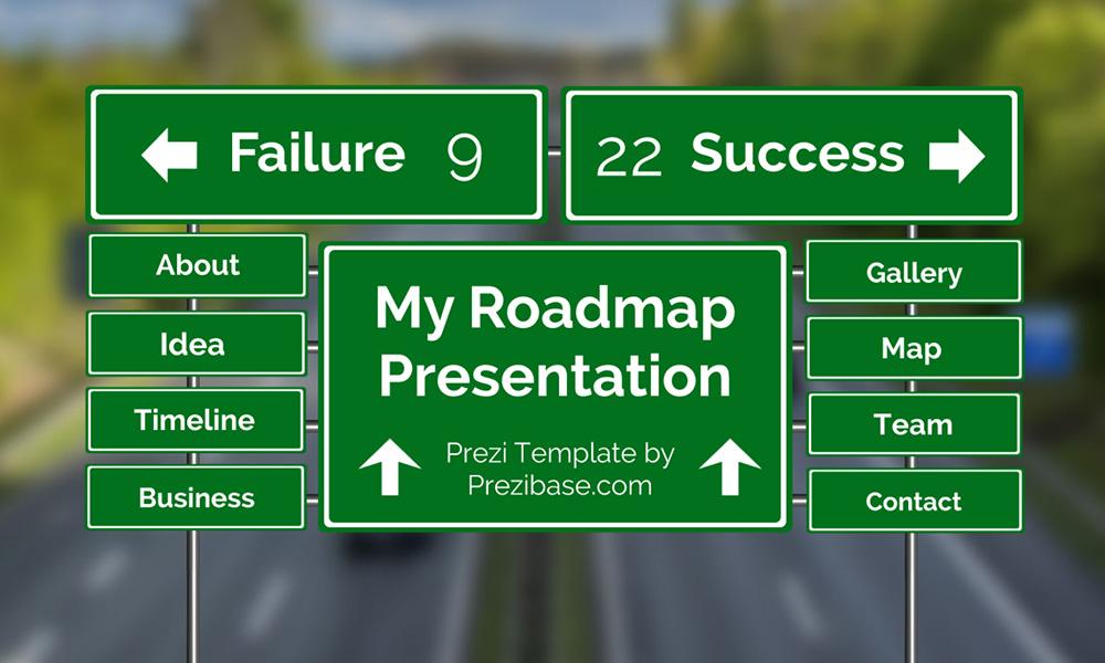 Roadmap traffic sign on road prezi next presentation template