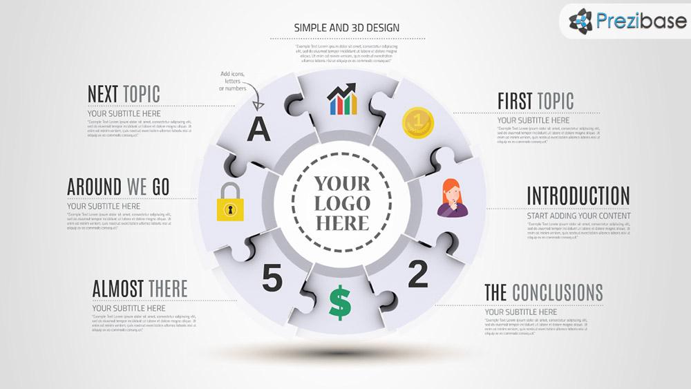 3D Round Puzzle Infographic Prezi presentation template