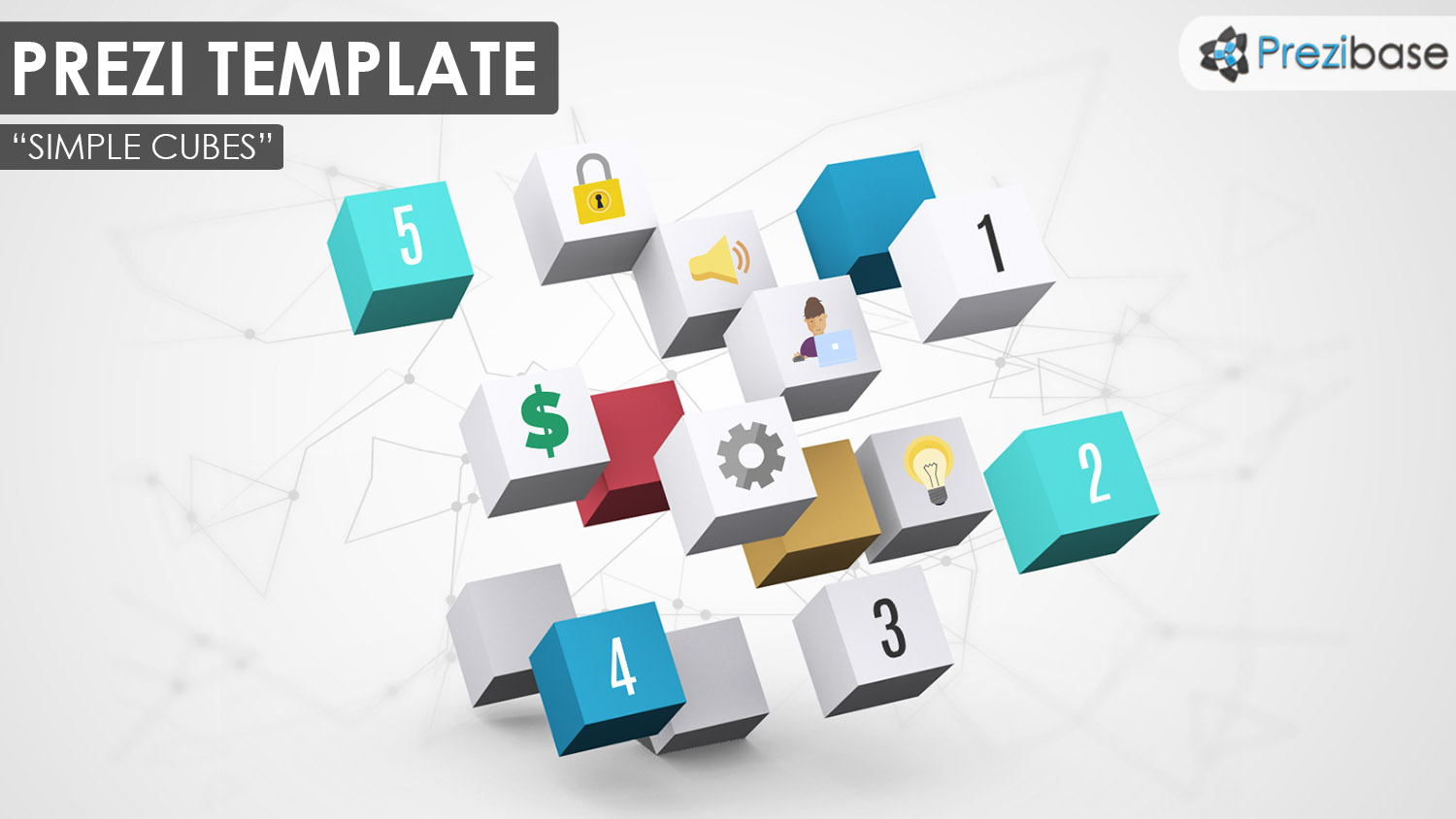 Simple and creative 3D template with white and colorful boxes for business or education
