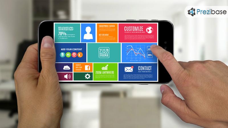 Iphone smartphone screen diagram presentation for prezi templates