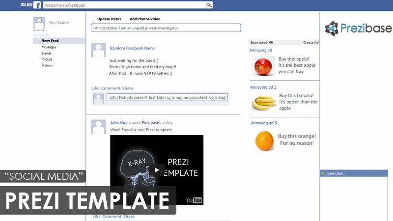 facebook social media Prezi template