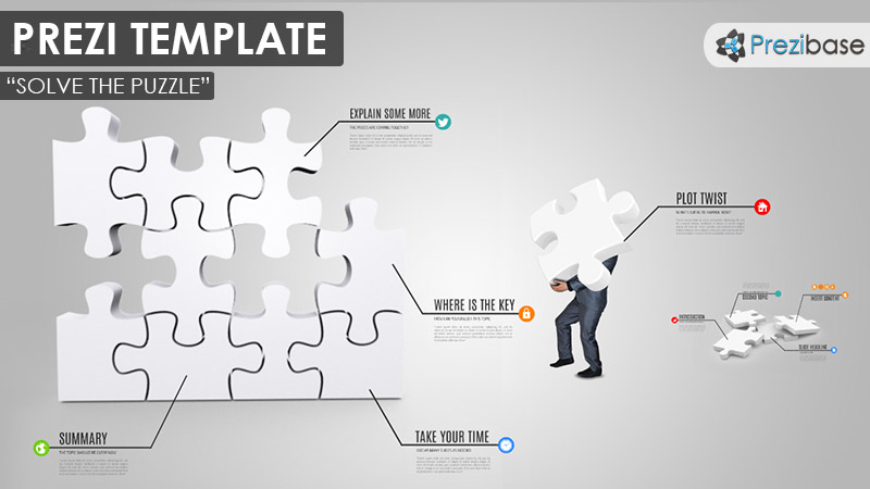 Businessman 3D Puzzle infographic prezi template