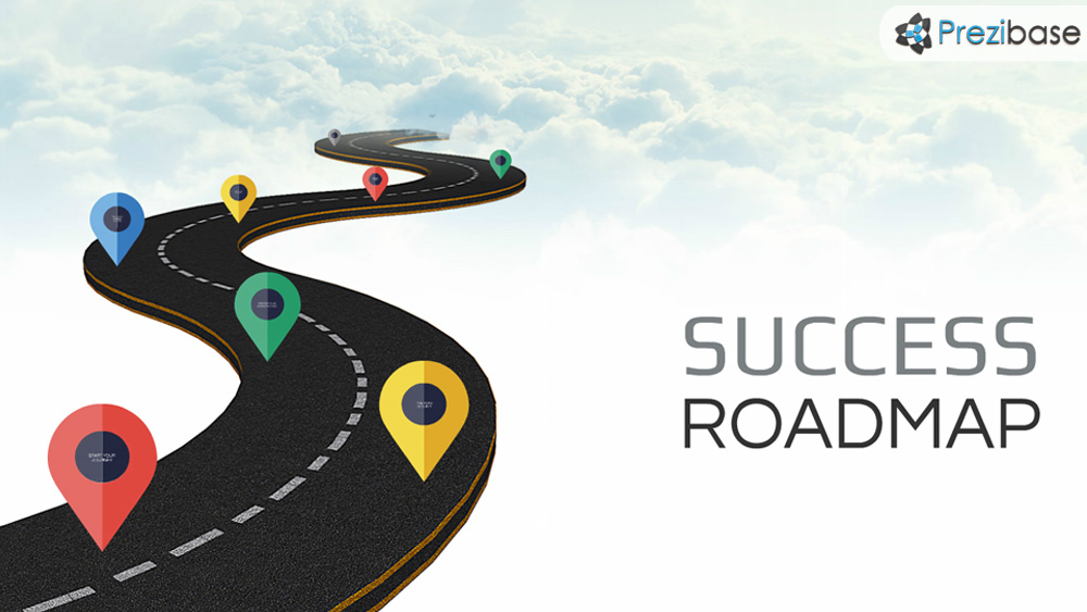 3D road in sky road to success prezi presentation template